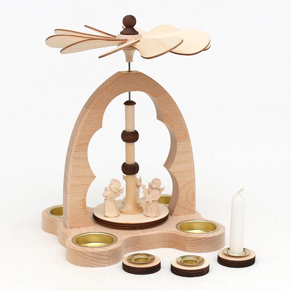 Teelicht Teelicht Teelicht Bogen Pyramide geschnitzt 3 Engel 24 cm 4 Teelichter Erzgebirge 50107 | Elegant Und Würdevoll  43f8f9