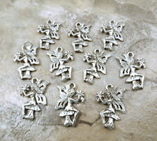 Set of 10 Pewter FAIRY ON A MUSHROOM Charms - 5406