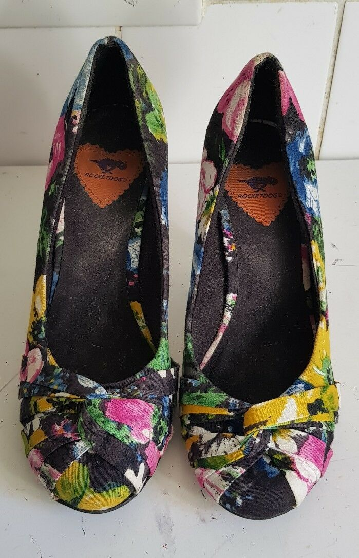 ROCKET DOG WOMENS HEELS FLORAL PUMPS COURT HEELS WOMENS SHOES SIZE 6ee3a2
