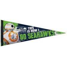 """SEATTLE SEAHAWKS STAR WARS BB-8 THIS IS HOW I GO SEAHAWKS PENNANT 12""""x30"""" NEW"""