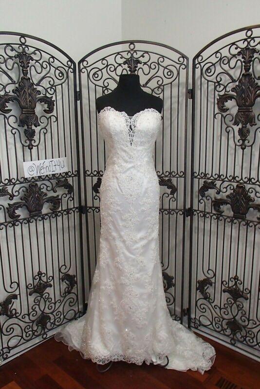 774 Moonlight D8087 Elfenbein Sz 12 $ 3285 Bestickt Spitze Swarovski Hochzeit