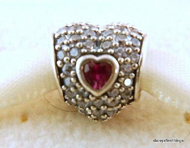 69e48eb2a Authentic PANDORA 925 Sterling Silver Charm in My Heart Ruby 791168sru for  sale online | eBay