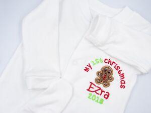 Brillant Personalised Embroidered Gingerbread Applique 1st Christmas Baby Bib Vest Tshirt Vente Chaude 50-70% De RéDuction