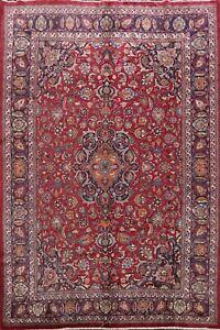 Vintage Floral Kashmar Signed Area Rug Traditional Hand-knotted Wool Carpet 8x11
