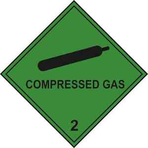 2 x compressed gas warning hazard diamond labels stickers 100x100mm