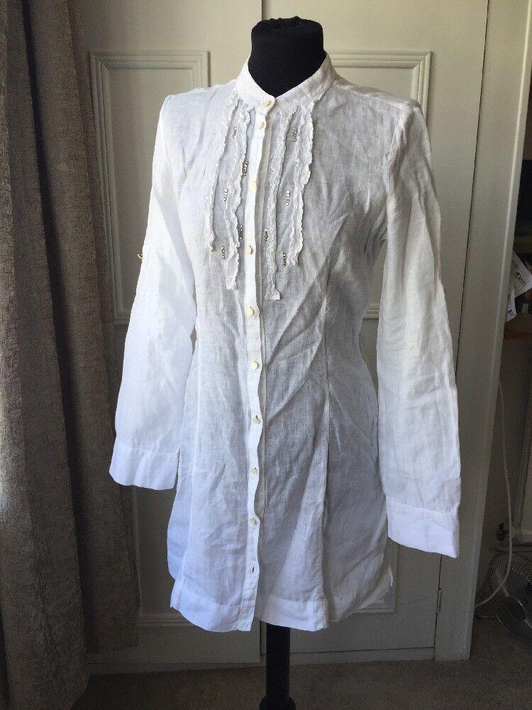 White Linen Marella Sport Short Dress