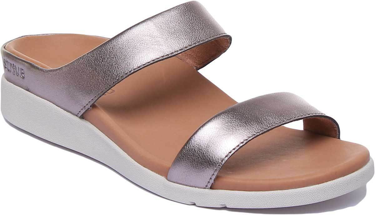 Strive Faro Womens Ankle Strap Sandals Leather In Silver Glamour UK Size 3 - 8