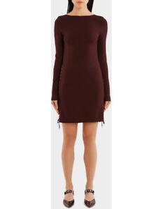 NEW-MCQ-Alexander-McQueen-Eyelet-Mini-Dress-Wine