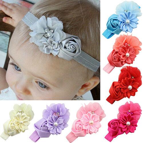 Eg /_ Am /_ DR7 Nouveau-Né Bébé Filles Rose Serre-Tête Fleur Enfant Cheveux Bande