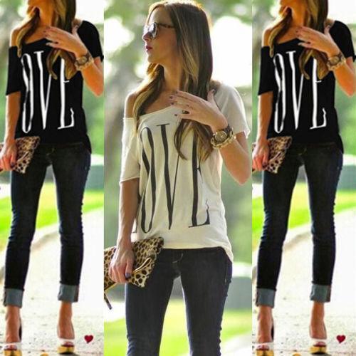 "Damen Locker /""LOVE/"" Kurzarm Freizeit Bluse Shirt T-shirt Oberteile Off-Shoulder"