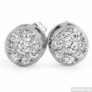 6a7aa0824 Image is loading Cluster-CZ-Cubic-Zirconia-Silver-Stud-Earrings