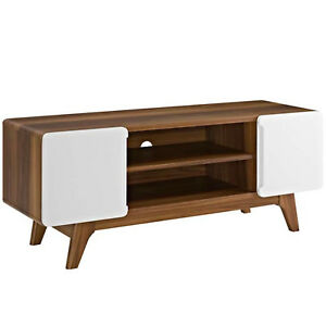 47-034-Mid-Century-Modern-LED-LCD-DLP-HD-TV-Stand-Credenza-Media-Walnut-White