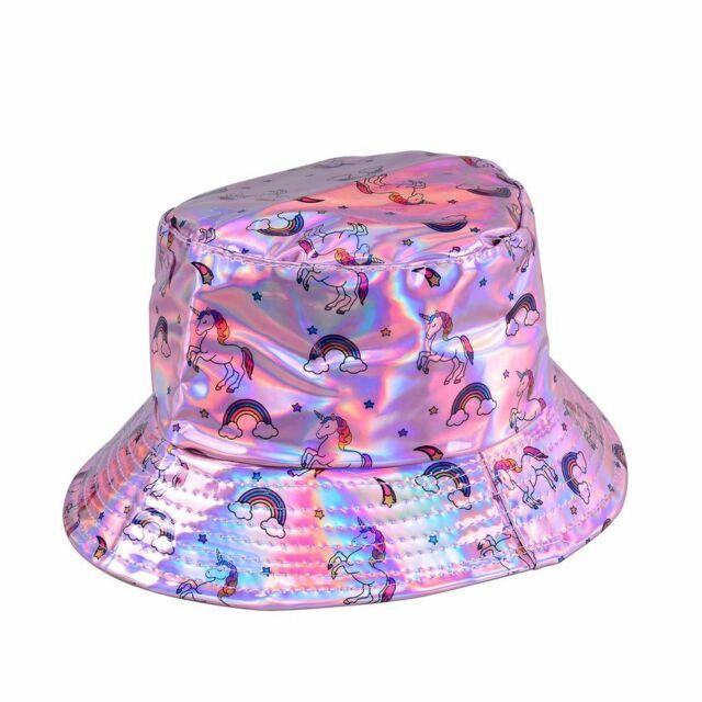 19aba6ca Shiny Holographic Unicorn Bucket Hat Rave Festival Party Sun Techno 90s