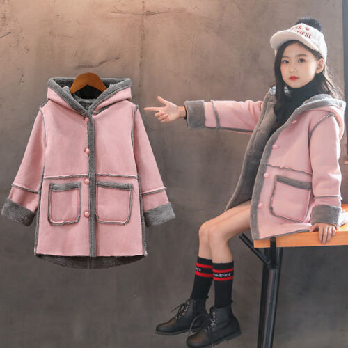 Girls Winter Coat Jacket Hooded School Parka Fleece Warm Trench Kids Age 3-12Y