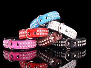 Lederhalsband-Hundehalsband-Strasshalsband-Halsband-blau-rot-pink