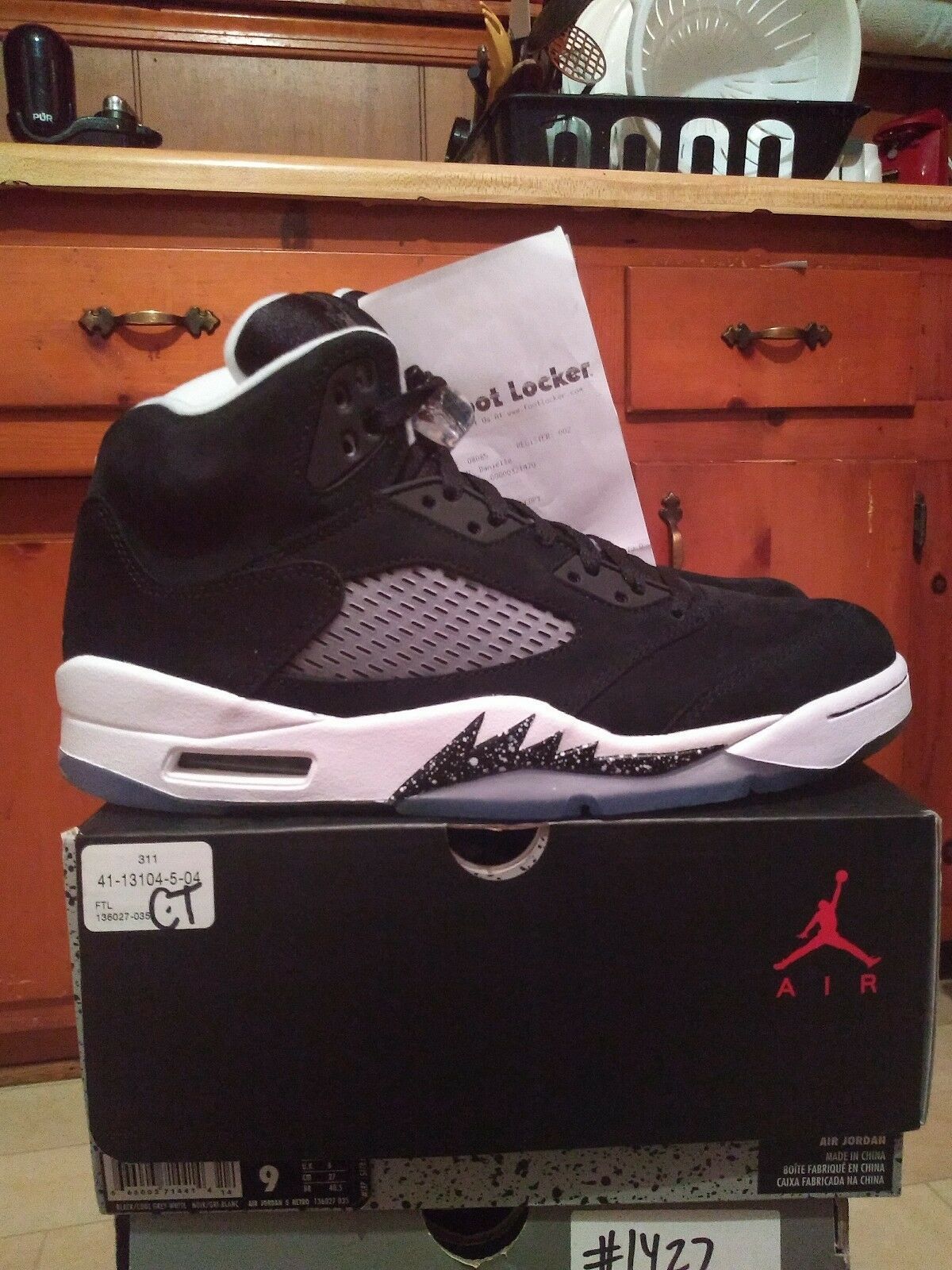 Jordan 5 Oreo Black White Size 9 DS With Receipt And Socks