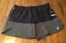 ASICS Mens Motion Dry Race 5IN Performance Running Shorts S Black 0904 Brand New