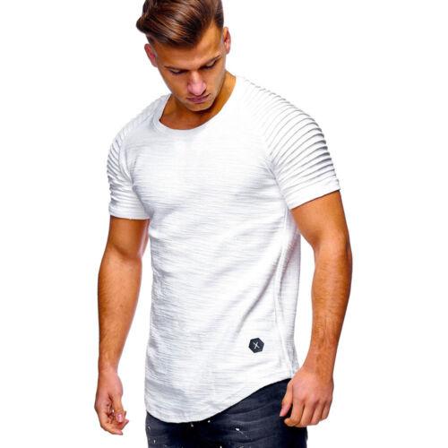 Fashion Men/'s Slim Fit À Encolure Ronde à Manches Courtes Muscle Tee T-shirt Casual Tops chemisier