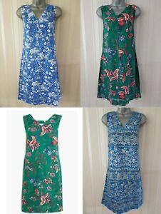 Ladies-NEXT-Shift-Dress-Linen-Floral-Print-Summer-Smock-Vintage-Beach-Size-8-26