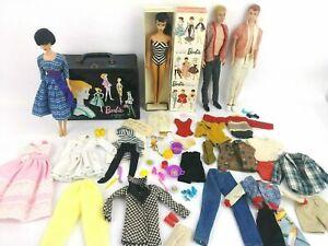 Vintage-1960-039-s-Vintage-Brunette-Ponytail-Barbie-w-1960-Brunette-Bubble-cut-Lot