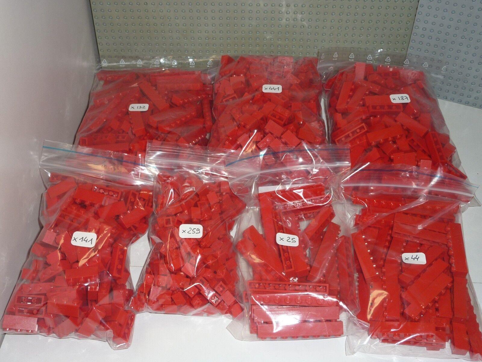 LEGO Gros Lot de 1229 pièces rouge réf. 3005 3004 3010 3009 3622 3008