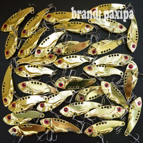 Lot Golden Metal VIB Fishing Lures Bass baits Treble hooks 2 sizes