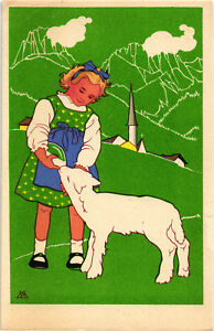 Battigelli Marina - Bambina con Agnello - Little Girl with Lamb - M010