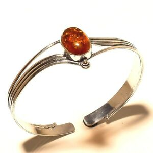 Amazing-Silver-Plated-Amber-Cuff-Bracelet-Gemstone-Jewelry