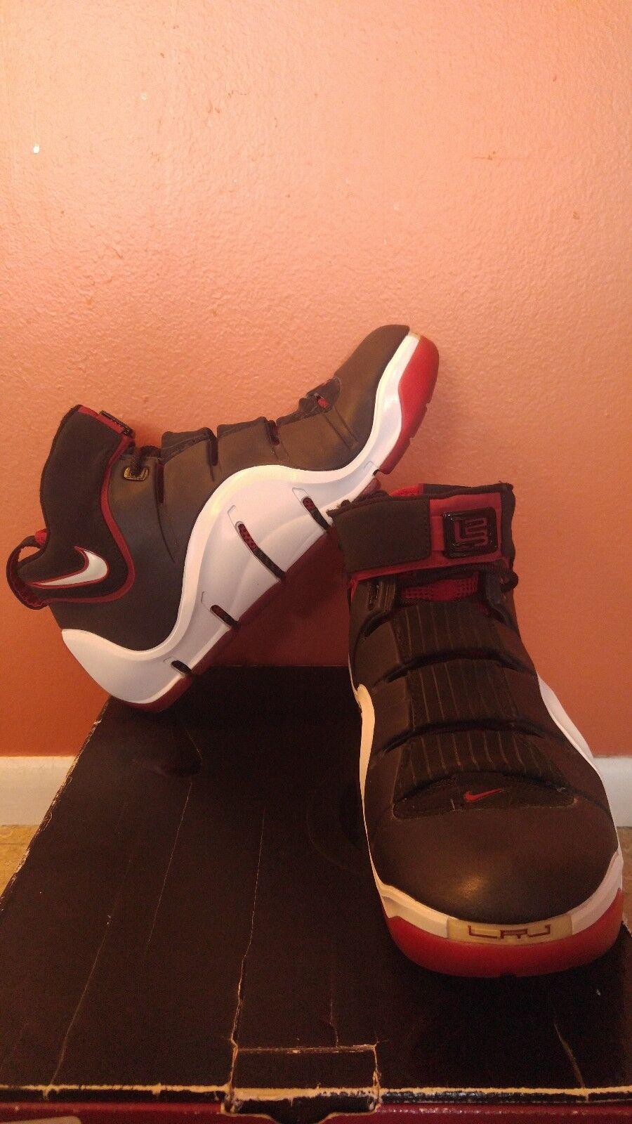 Nike Zoom Lebron 4- Size 10 Black/White- Varsity Crimson