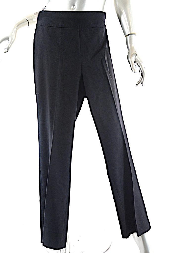 AKRIS Punto schwarz 100% laine Nettoyer Avant Pantalon Avec Côté Couture Fermeture Éclair US16 F48 D46