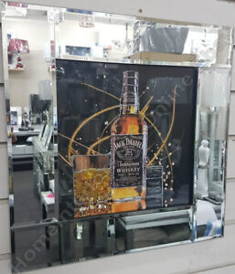 Whiskey-Jack-D-bottle-pictures-with-liquid-art-crystals-amp-mirror-black-frames
