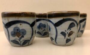 OTAGIRI-Sticker-Original-Sake-Cups-Japan-Set-4-Brown-Blue-Stoneware-1-3-4-Inch