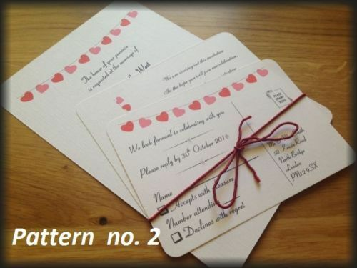50 Personalised Wedding Invitations Day Evening Invites RETRO
