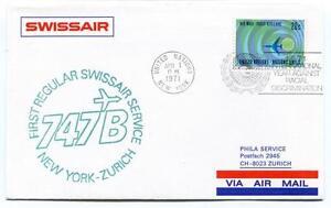 Dynamique Ffc 1971 Swissair Phila Service First Regular Flight New York Zurich Mail