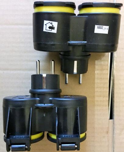 EF Adapter 2x GUMMI Doppel Steckdose 7,55€//ST Schuko Schuko STECKER,Y XX