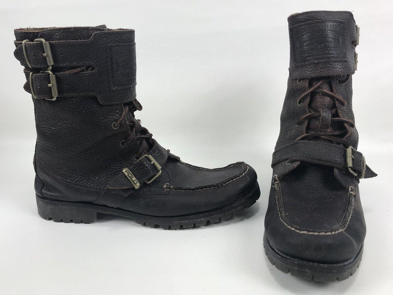 Polo Ralph Lauren Brockton botas De Cuero Negro Doble abrochado Mens tamaño D 12