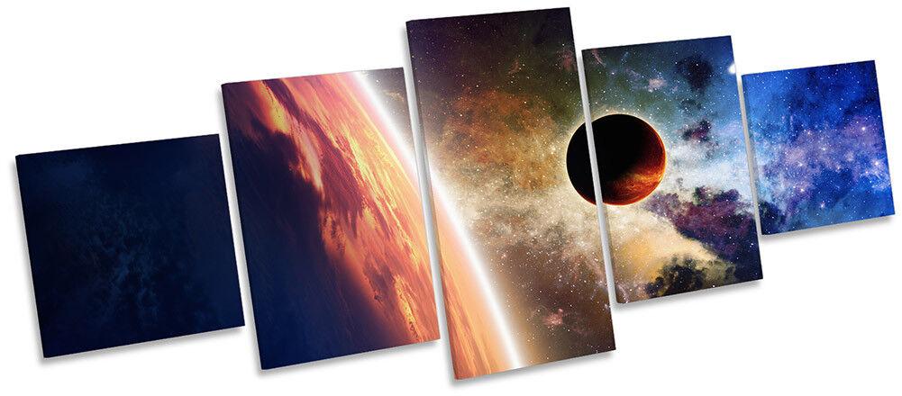 ASTRONOMIE LUNE Espace Planète Photo Toile Wall Art Cinq Panneau