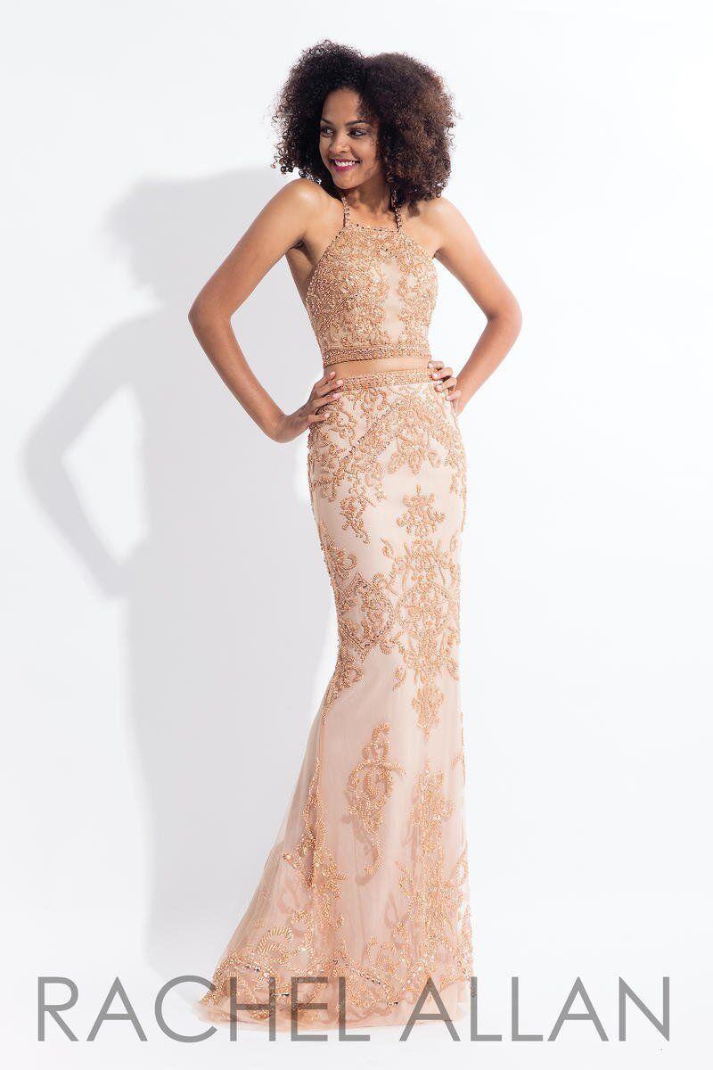 Rachel Allan 6143 pink gold Stunning Pageant Gala Gown Dress sz 0