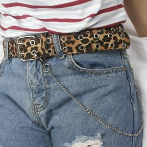 Womens Faux Leather Two Row Grommet Holes Belt Waist Strap Metal Chain Punk