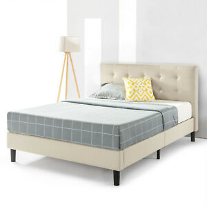 Beige Upholstered Platform Bed With Headboard Strong Steel Support Queen King Ebay