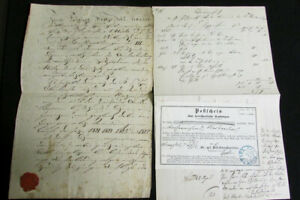German States Stamps Thurn Taxis 2 Documents Revenue Cancels 1854 Scarce