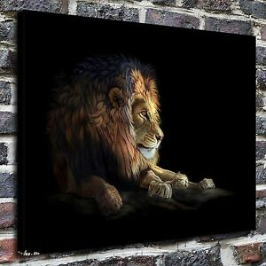 Image Is Loading Lying Lion Animal Painting HD Print On Canvas