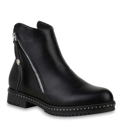 Klassische Damen Stiefeletten Ankle Boots Leder-Optik Booties 825641 Trendy