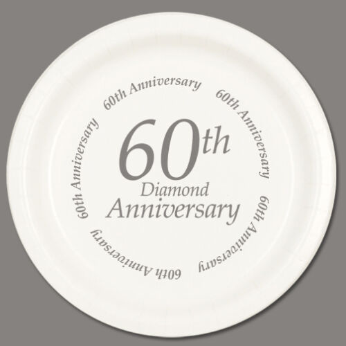 60th ANNIVERSARY DESSERT PLATES Party Supplies FREE SHIPPING
