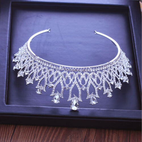 6cm High Large Crystal Flower Drip Tiara Crown Wedding Party Prom Pageant