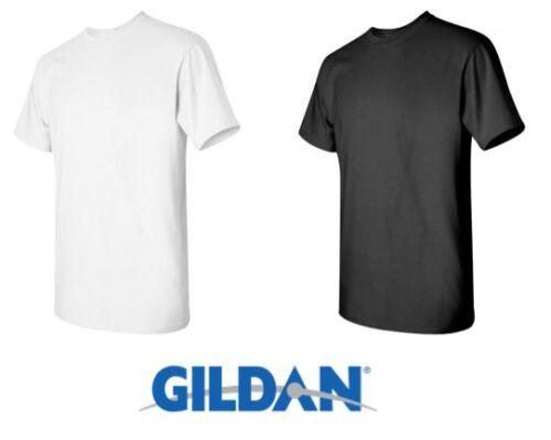 Large 50 T-SHIRTS Blank 25 Black 25 White BULK LOT Wholesale Gildan 5000 Size
