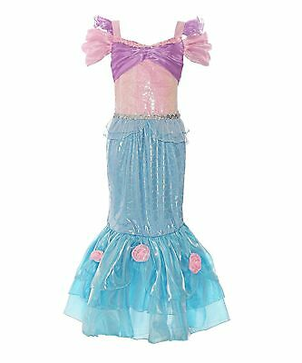 Tireless Mermaid Costume Girls Princess Cosplay Ariel Dress Halloween Sequin Party Dress Girls' Clothing (sizes 4 & Up) Dresses