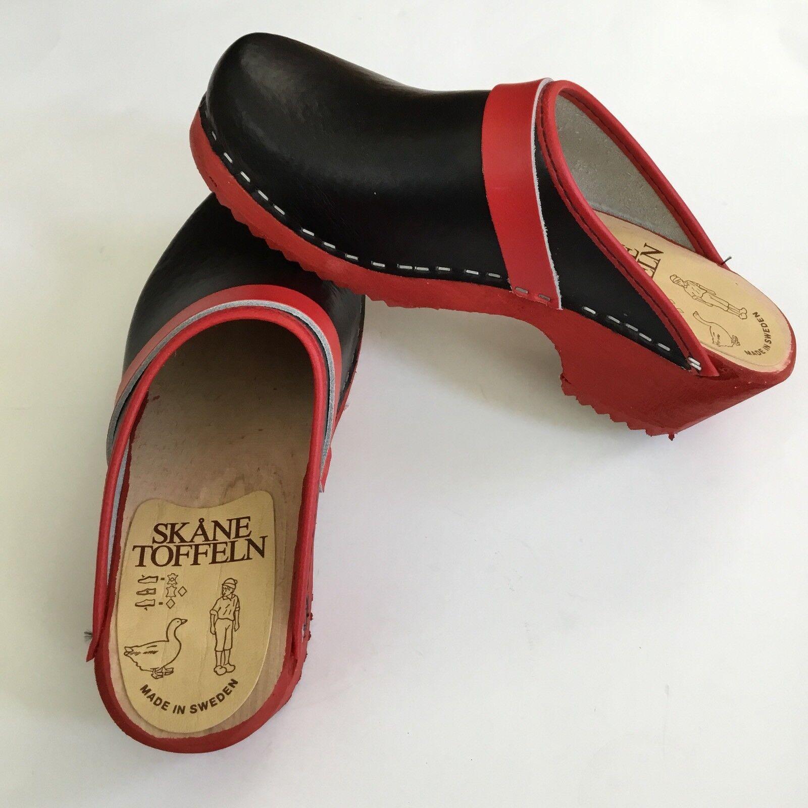 Zuecos sueco Negro con borde rojo rojo rojo Talla 36 EU  suministro directo de los fabricantes