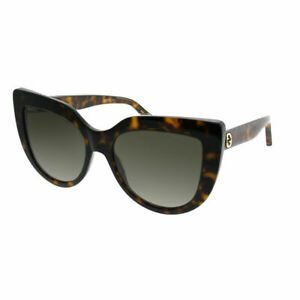 2544a9a404420 Gucci GG0164S 002 Havana Plastic Cat-Eye Sunglasses Brown Gradient ...