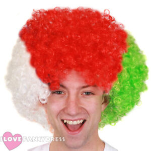 WHITE RED GREEN AFRO WIG WELSH FLAG EURO FOOTBALL RUGBY SUPPORTER ... 788ca7dfb860